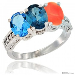 14K White Gold Natural Swiss Blue Topaz, London Blue Topaz & Coral Ring 3-Stone 7x5 mm Oval Diamond Accent