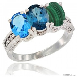 14K White Gold Natural Swiss Blue Topaz, London Blue Topaz & Malachite Ring 3-Stone 7x5 mm Oval Diamond Accent