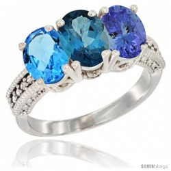 14K White Gold Natural Swiss Blue Topaz, London Blue Topaz & Tanzanite Ring 3-Stone 7x5 mm Oval Diamond Accent