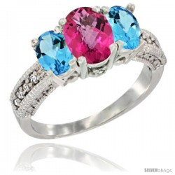 14k White Gold Ladies Oval Natural Pink Topaz 3-Stone Ring with Swiss Blue Topaz Sides Diamond Accent