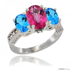 14K White Gold Ladies 3-Stone Oval Natural Pink Topaz Ring with Swiss Blue Topaz Sides Diamond Accent