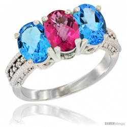 14K White Gold Natural Pink Topaz & Swiss Blue Topaz Sides Ring 3-Stone 7x5 mm Oval Diamond Accent