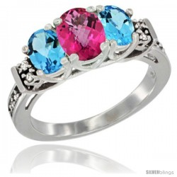 14K White Gold Natural Pink Topaz & Swiss Blue Topaz Ring 3-Stone Oval with Diamond Accent