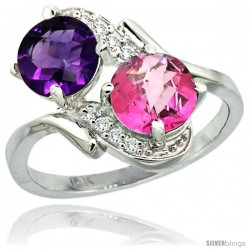 14k White Gold ( 7 mm ) Double Stone Engagement Amethyst & Pink Topaz Ring w/ 0.05 Carat Brilliant Cut Diamonds & 2.34 Carats