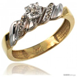 10k Gold Diamond Engagement Ring w/ 0.08 Carat Brilliant Cut Diamonds, 5/32 in. (5mm) wide