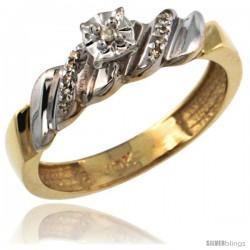 10k Gold Diamond Engagement Ring w/ 0.08 Carat Brilliant Cut Diamonds, 5/32 in. (5mm) wide