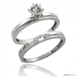 10k White Gold Ladies' 2-Piece Diamond Engagement Wedding Ring Set, 1/8 in wide -Style 10w106e2