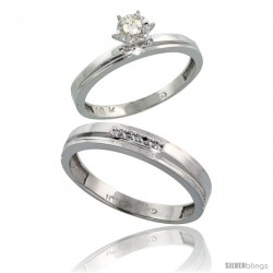 10k White Gold 2-Piece Diamond wedding Engagement Ring Set for Him & Her, 3mm & 4mm wide