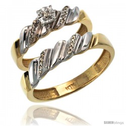10k Gold 2-Pc Diamond Ring Set (5mm Engagement Ring & 5mm Man's Wedding Band), w/ 0.143 Carat Brilliant Cut Diamonds