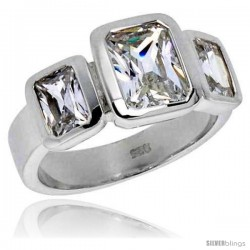 Sterling Silver 1 1/2 Carat Size Emerald Cut Cubic Zirconia Bridal Ring