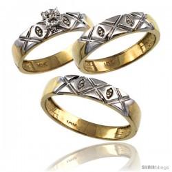 10k Gold 3-Pc. Trio His (5mm) & Hers (4.5mm) Diamond Wedding Ring Band Set, w/ 0.056 Carat Brilliant Cut Diamonds