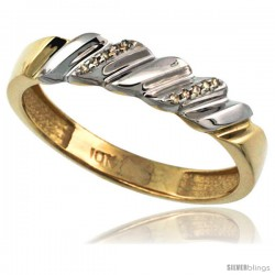 10k Gold Men's Diamond Wedding Ring Band, w/ 0.063 Carat Brilliant Cut Diamonds, 3/16 in. (5mm) wide