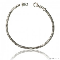 Sterling Silver 3mm Charm Bracelet Bead Compatible Nickel Free -Style Snk300cb