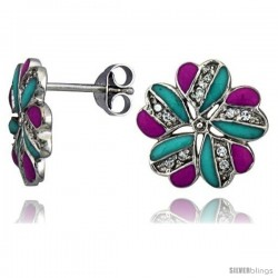 "Sterling Silver 9/16"" (14 mm) tall Post Earrings, Rhodium Plated w/ CZ Stones, Pink & Blue Enamel Designs"