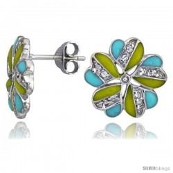 "Sterling Silver 9/16"" (14 mm) tall Post Earrings, Rhodium Plated w/ CZ Stones, Yellow & Blue Enamel Designs"