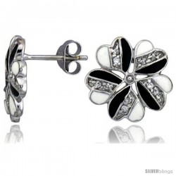 "Sterling Silver 9/16"" (14 mm) tall Post Earrings, Rhodium Plated w/ CZ Stones, Black & White Enamel Designs"
