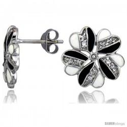"Sterling Silver 9/16"" (14 mm) tall Post Earrings, Rhodium Plated w/ CZ Stones, Black & White Enamel Designs"