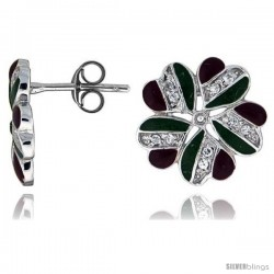 "Sterling Silver 9/16"" (14 mm) tall Post Earrings, Rhodium Plated w/ CZ Stones, Green & Red Enamel Designs"