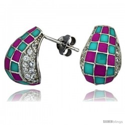 "Sterling Silver 5/8"" (16 mm) tall Post Earrings, Rhodium Plated w/ CZ Stones, Pink & Blue Checkered Enamel Designs"