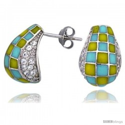"Sterling Silver 5/8"" (16 mm) tall Post Earrings, Rhodium Plated w/ CZ Stones, Yellow & Blue Checkered Enamel Designs"