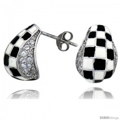 "Sterling Silver 5/8"" (16 mm) tall Post Earrings, Rhodium Plated w/ CZ Stones, Black & White Checkered Enamel Designs"