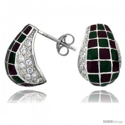 "Sterling Silver 5/8"" (16 mm) tall Post Earrings, Rhodium Plated w/ CZ Stones, Green & Red Checkered Enamel Designs"