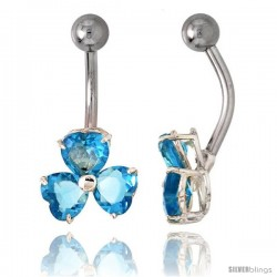 Shamrock Belly Button Ring with Blue Topaz Cubic Zirconia on Sterling Silver Setting
