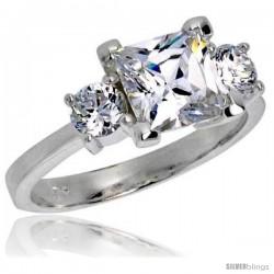 Sterling Silver 2.0 Carat Size Princess Cut Cubic Zirconia Bridal Ring -Style Rcz404