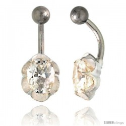 Flower Belly Button Ring with Clear Cubic Zirconia on Sterling Silver Setting