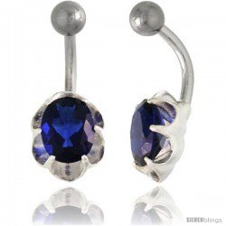 Flower Belly Button Ring with Blue Sapphire Cubic Zirconia on Sterling Silver Setting -Style Ssc107