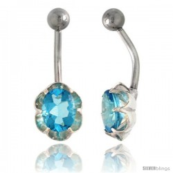Flower Belly Button Ring with Blue Topaz Cubic Zirconia on Sterling Silver Setting