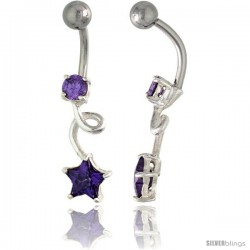 Loop Belly Button Ring with Star Cut Amethyst Cubic Zirconia on Sterling Silver Setting