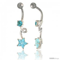 Loop Belly Button Ring with Star Cut Blue Topaz Cubic Zirconia on Sterling Silver Setting