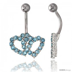 Double Heart Belly Button Ring with Blue Topaz Cubic Zirconia on Sterling Silver Setting