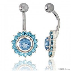 Sunflower Belly Button Ring with Blue Topaz Cubic Zirconia on Sterling Silver Setting