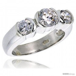 Sterling Silver 1 Carat Size Brilliant Cut Cubic Zirconia Bridal Ring -Style Rcz406