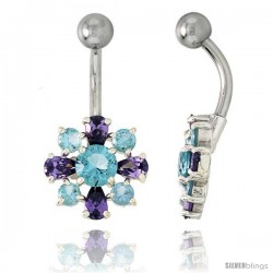 Flower Belly Button Ring with Amethyst and Blue Topaz Cubic Zirconia on Sterling Silver Settings
