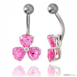 Shamrock Belly Button Ring with Pink Cubic Zirconia on Sterling Silver Setting