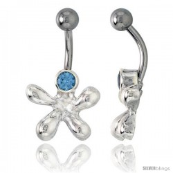 Cookie Cutter Belly Button Ring with Blue Topaz Cubic Zirconia on Sterling Silver Setting
