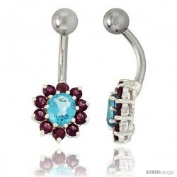 Sunflower Belly Button Ring with Amethyst and Blue Topaz Cubic Zirconia on Sterling Silver Settings