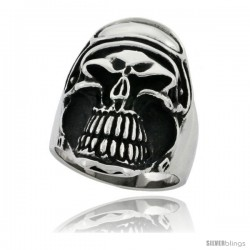 Surgical Steel Biker Skull Ring with Helmet and Goggles 1 1/4 in wide