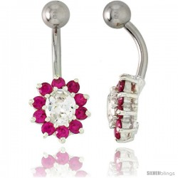 Sunflower Belly Button Ring with Ruby Red and Clear Cubic Zirconia on Sterling Silver Settings