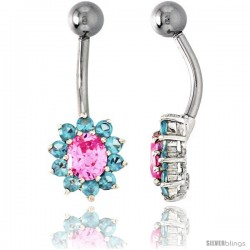 Sunflower Belly Button Ring with Pink and Blue Topaz Cubic Zirconia on Sterling Silver Settings