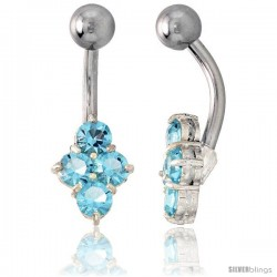 Belly Button Ring with Clustered Blue Topaz Cubic Zirconia on Sterling Silver Setting Stones