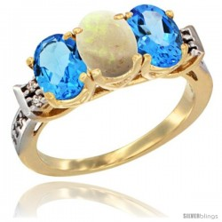 10K Yellow Gold Natural Opal & Swiss Blue Topaz Sides Ring 3-Stone Oval 7x5 mm Diamond Accent