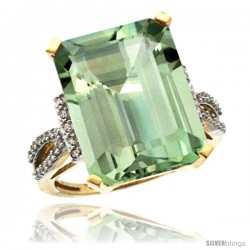 14k Yellow Gold Diamond Green-Amethyst Ring 12 ct Emerald Shape 16x12 Stone 3/4 in wide