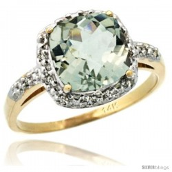 14k Yellow Gold Diamond Green-Amethyst Ring 2.08 ct Cushion cut 8 mm Stone 1/2 in wide