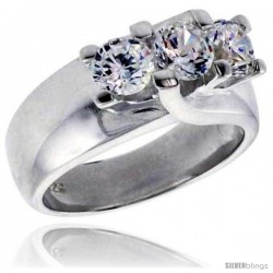 Sterling Silver .47 Carat Size Brilliant Cut Cubic Zirconia Bridal Ring -Style Rcz409