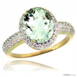 14k Yellow Gold Diamond Green-Amethyst Ring Oval Stone 10x8 mm 2.4 ct 1/2 in wide
