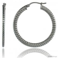 Surgical Steel 1 1/2 in Hoop Earrings Spiral Embossed Pattern 4 mm Flat tube, feather weigh